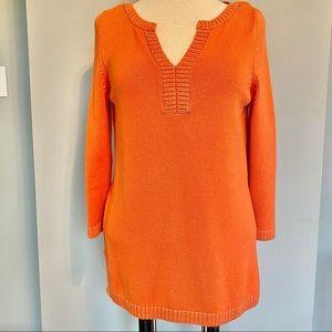 TALBOTS Cotton Tunic Length Sweater in Pumpkin